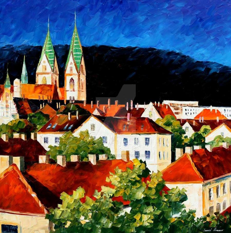 Germany Freiburg by Leonid Afremov by Leonidafremov