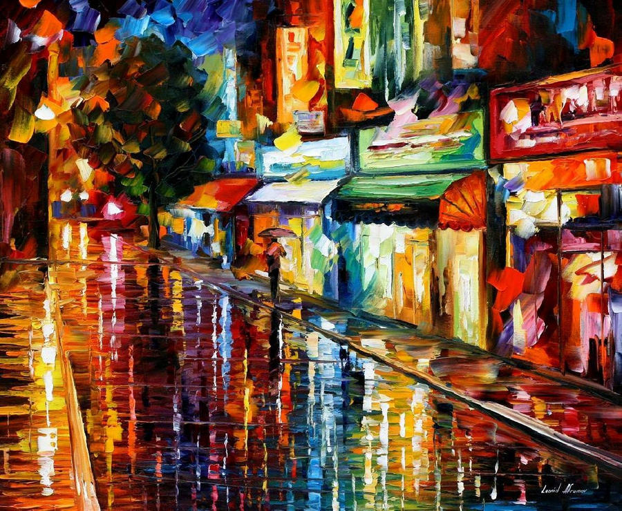 Night rain by by Leonid Afremov by Leonidafremov