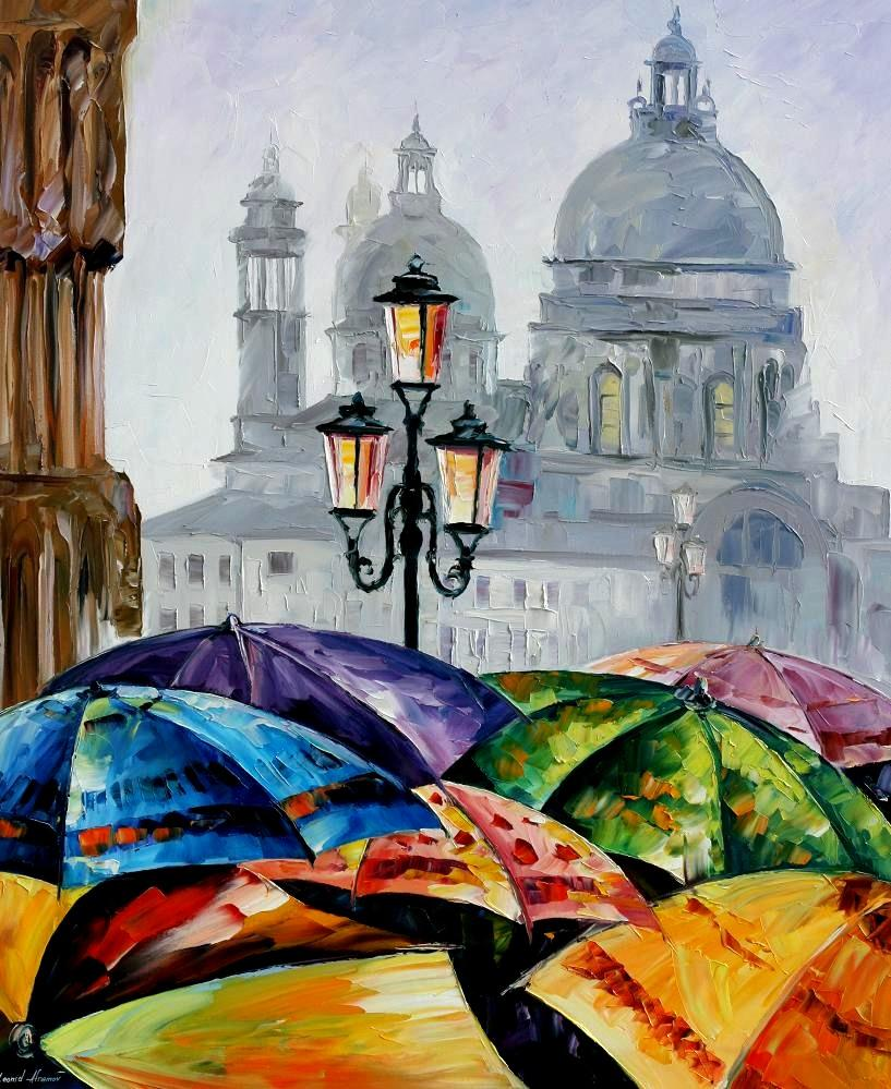 Rainy day in Venice by Leonid Afremov by Leonidafremov