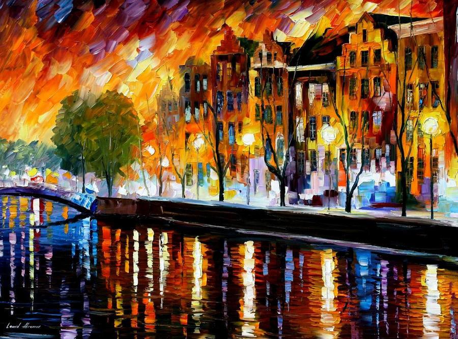 Amsterdam - winter reflection by Leonid Afremov by Leonidafremov