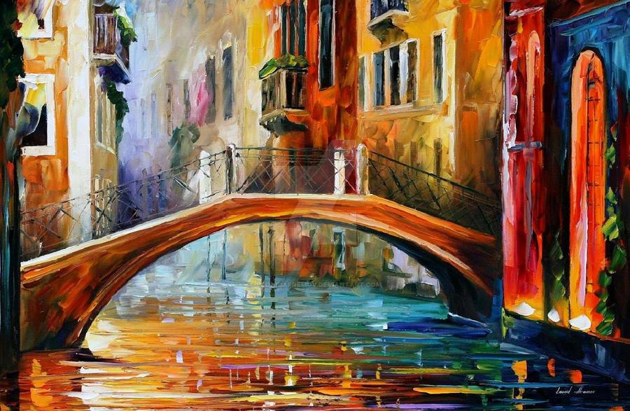 Venice bridge by Leonid Afremov by Leonidafremov