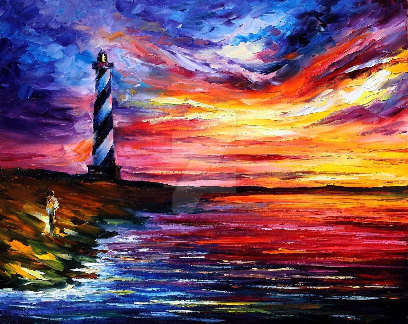 Lighthouse by leonid afremov by leonidafremov on deviantart for Oil paintings for the home