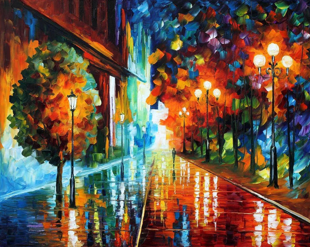 Street of hope by leonid afremov by leonidafremov on for Call for mural artists 2014