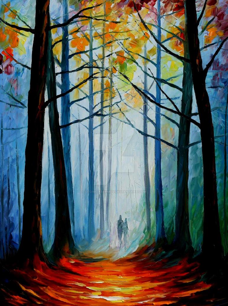 Wise forest by Leonid Afremov by Leonidafremov