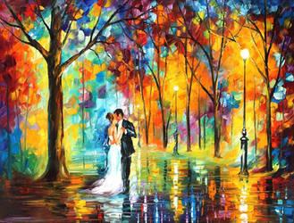 Rainy wedding by Leonid Afremov by Leonidafremov