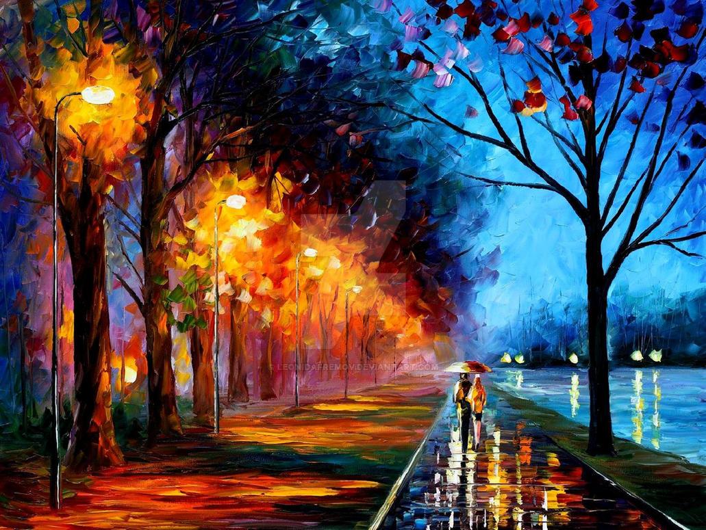 Alley by the Lake by Leonid Afremov by Leonidafremov