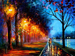 Rainy Alley by the Lake by Leonid Afremov by Leonidafremov