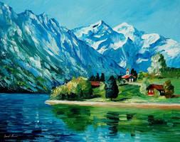 Icy mountain by Leonid Afremov by Leonidafremov