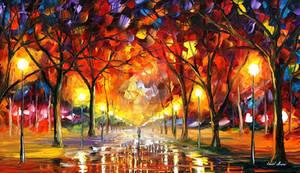 Warm rain drops by Leonid Afremov