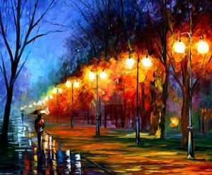Fall, rain, alley  by Leonid Afremov