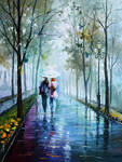 Foggy stroll by Leonid Afremov