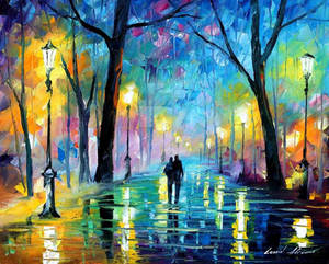 Fog in the park by Leonid Afremov