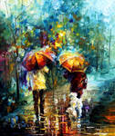 Friends with a dog by Leonid Afremov