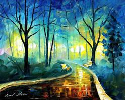 Blue Fog by Leonid Afremov by Leonidafremov