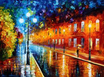 Blue lights at Night by Leonid Afremov