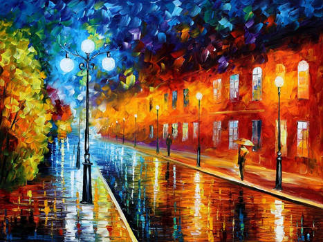 Blue lights at Night by Leonid Afremov