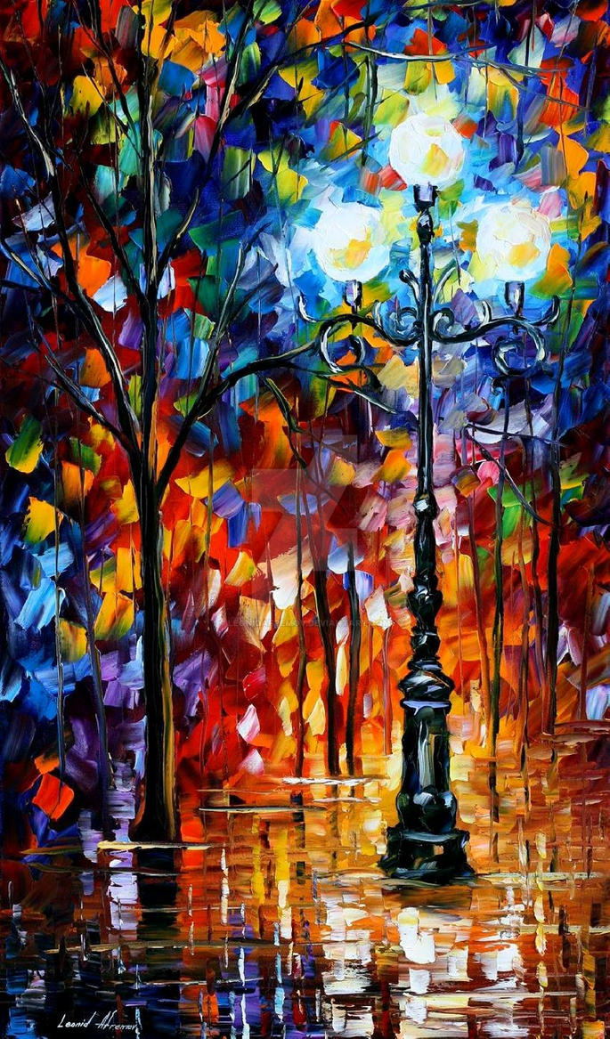 Light In The Alley by Leonid Afremov by Leonidafremov