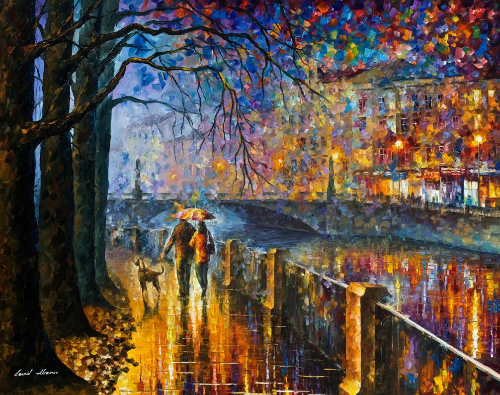 Alley By The River by Leonid Afremov by Leonidafremov on ...