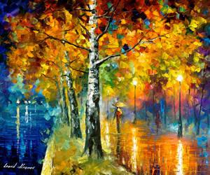 Glowing Birch by Leonid Afremov by Leonidafremov