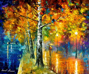 Glowing Birch by Leonid Afremov