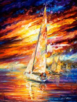 Sailing to the horizon by Leonid Afremov
