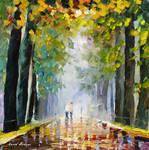 Best friends walking by Leonid Afremov