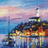 BLUE PORT by Leonid Afremov by Leonidafremov
