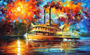 STEAMBOAT by Leonid Afremov by Leonidafremov