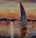 Blue sail by Leonid Afremov