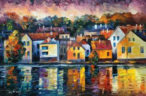City of river by Leonid Afremov by Leonidafremov