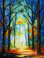 Orange woods by Leonid Afremov by Leonidafremov