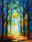 Orange woods by Leonid Afremov