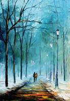 Cold winter by Leonid Afremov by Leonidafremov