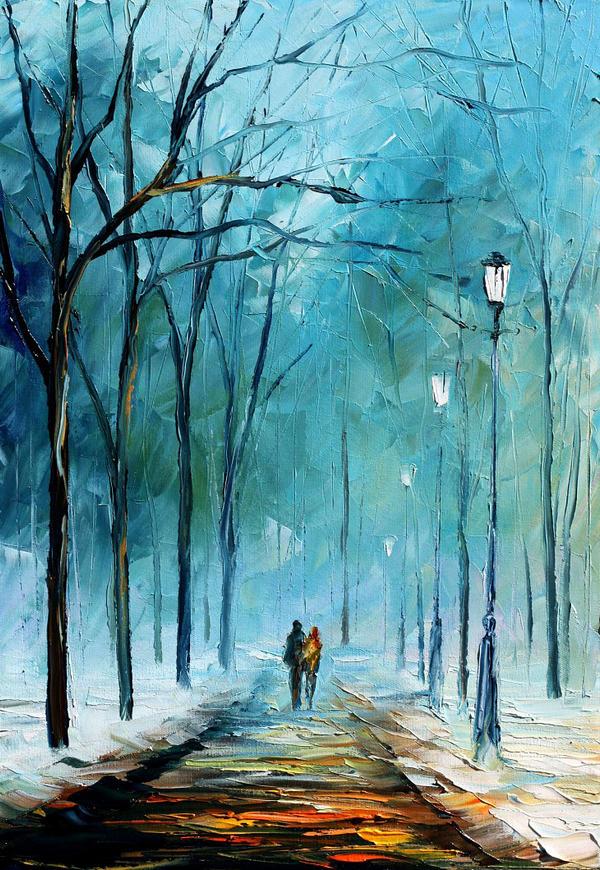 Cold winter by Leonid Afremov by Leonidafremov