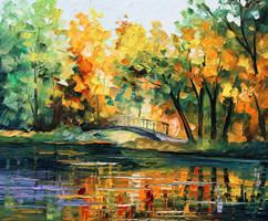 Spring bridge by Leonid Afremov by Leonidafremov