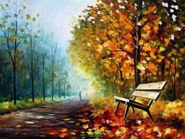 Lonely Bench 2 by Leonid Afremov by Leonidafremov