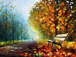 Lonely Bench in the Park by Leonid Afremov