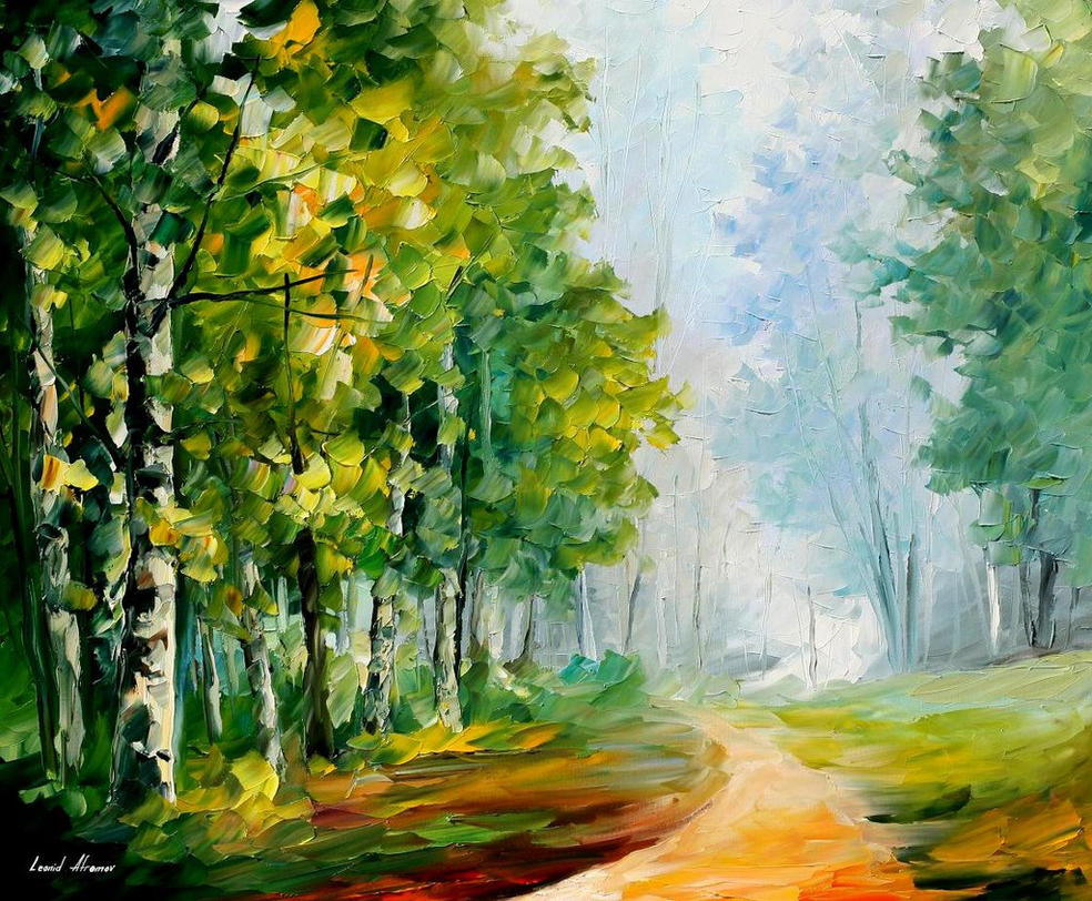 Morning Forest by Leonid Afremov by Leonidafremov on DeviantArt