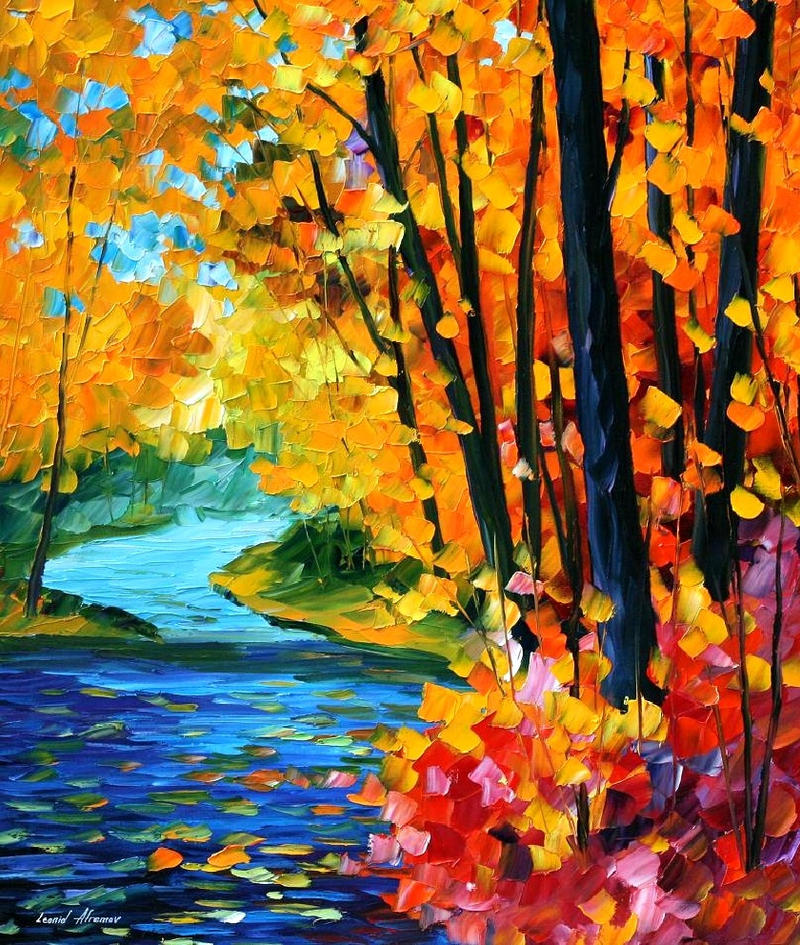 Sounds of the fall by leonid afremov by leonidafremov on for Fall pictures to paint