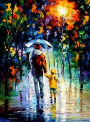 Rainy Walk With Daddy by Leonid Afremov by Leonidafremov