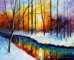 Frozen Stream by Leonid Afremov by Leonidafremov