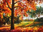 Freedom Of Autumn Park by Leonid Afremov