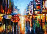 Night Umbrellas by Leonid Afremov