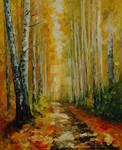 Fall Birches by Leonid Afremov