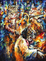 Jamming Cats 4 by Leonid Afremov by Leonidafremov
