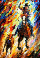 Rodeo The Chase by Leonid Afremov by Leonidafremov