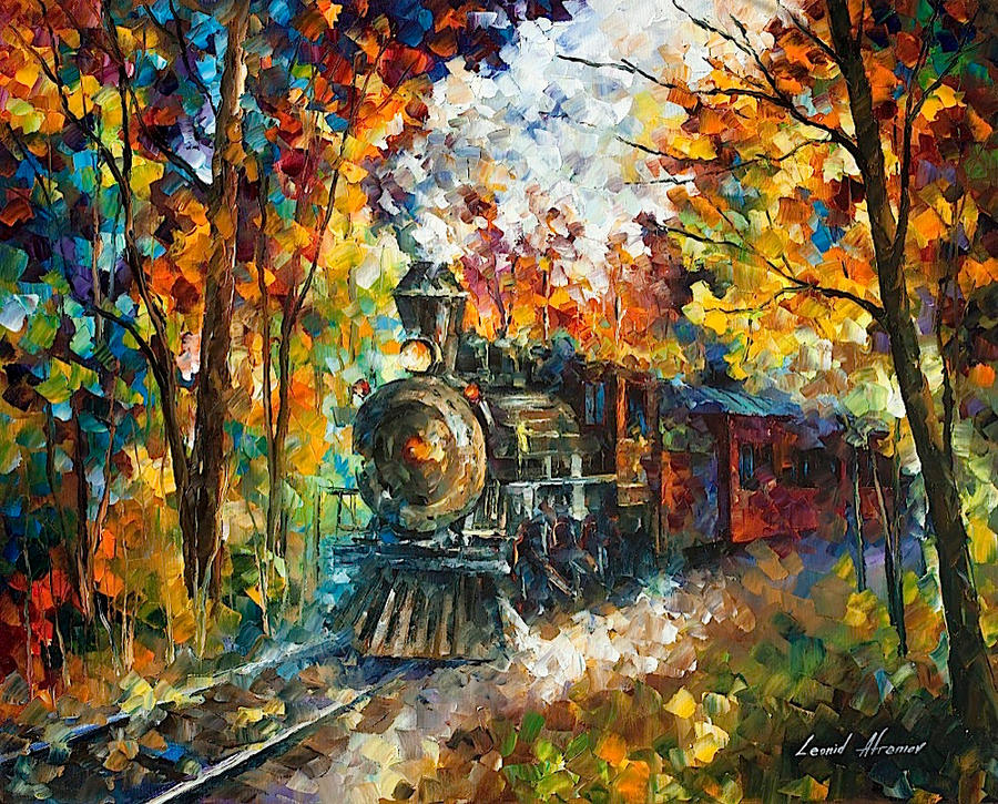 Old train by leonid afremov by leonidafremov on deviantart for What is canvas painting