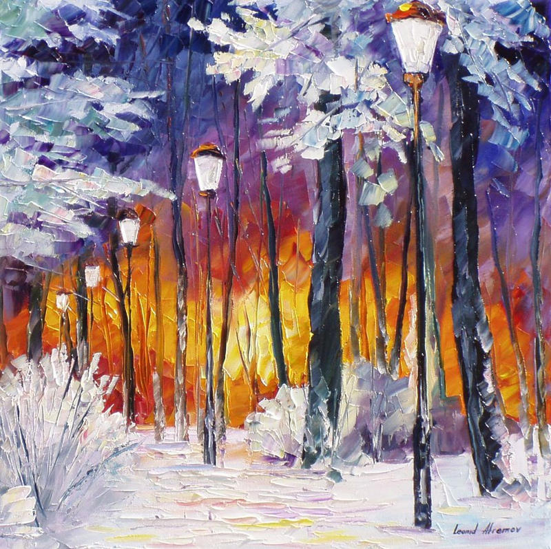 Winter Fire by Leonid Afremov by Leonidafremov