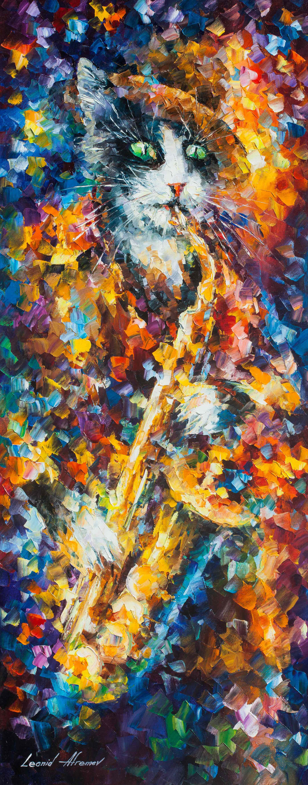 Saxophone cat by leonid afremov by leonidafremov on deviantart for Cat paintings on canvas