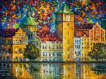 Clock Tower by the River by Leonid Afremov